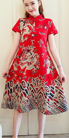 Ethnic Dragon-printing Dress-Red (RM)