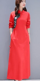 Ethnic Embroidery Cotton Linen Cheongsam Dress (RM)
