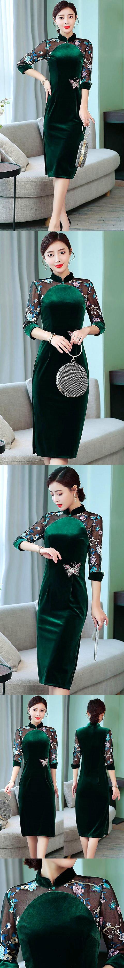 3/4-sleeve Magnificent Velvet Cheongsam (RM)