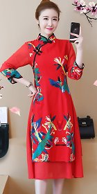 Ethnic Dual-layer Linen Cheongsam Dress (RM)
