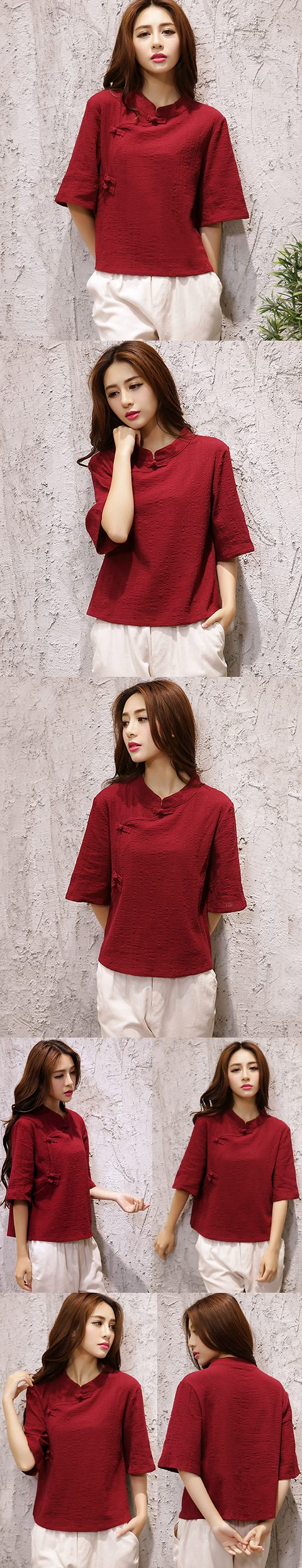 Short-sleeve Chinese Ethnic Cotton Linen Blouse (Ready-Made)