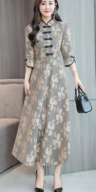 Long-sleeve Magnificent Embroidery Gauze Cheongsam (RM)