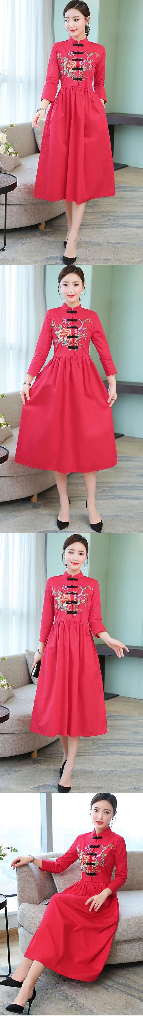 Ethnic Cotton Linen Pleated Cheongsam Dress (RM)