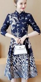 民族風情印龍連衣裙-海軍藍 (成衣)