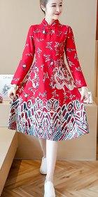 民族風情印龍連衣裙-紅色 (成衣)