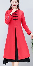 Ethnic Long-length Dual-layer Dress - Red (RM)