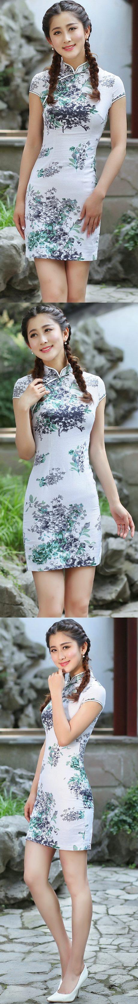 Linen Cup-sleeve Short-length Cheongsam (RM)