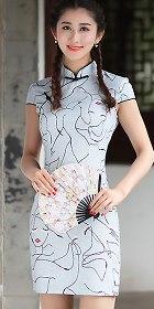 亞麻碗袖短身旗袍 (成衣)