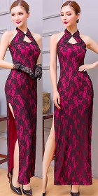 Cut-in-shoulder Long-length Embroidery Gauze Cheongsam (RM)