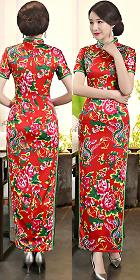 Long-length Ethnic Printing Cheongsam (CM/RM)