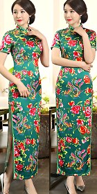 Long-length Ethnic Printing Cheongsam (CM/RM)