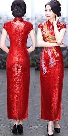 Paillettes Embroidery Long-length Cheongsam (CM)