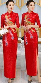 Paillettes Embroidery Long-length Cheongsam (CM)