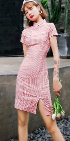 Cotton Linen Short-length Checkered Cheongsam Dress (RM)