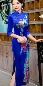 3/4-sleeve Long-length Velvet Cheongsam (RM)