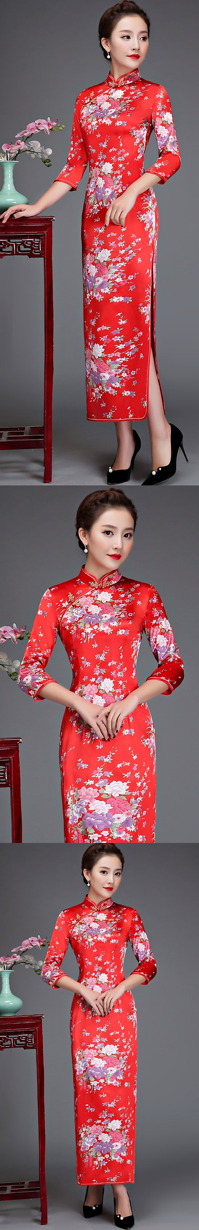 7分袖長身旗袍 (成衣)