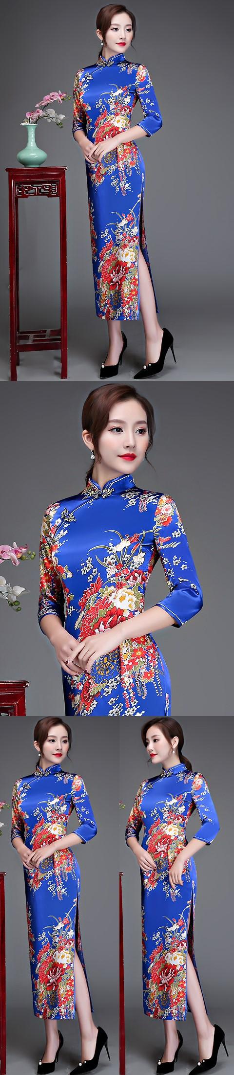 3/4-sleeve Long-length Brocade Cheongsam (RM)