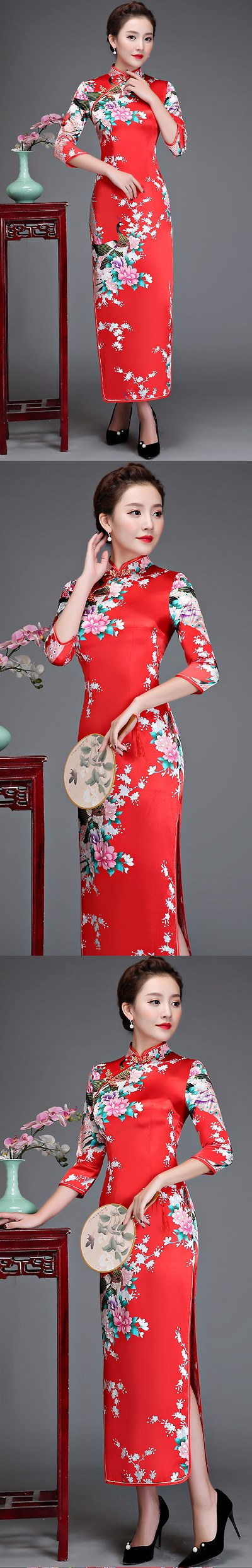 3/4-sleeve Long-length Brocade Cheongsam (RM)