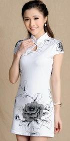 Cup-sleeve Short-length Printing Cheongsam (RM)