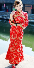Long-sleeve Foldable-collar Cheongsam (CM)