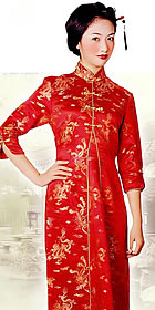 3/4-sleeve Front-pleated Long-length Cheongsam (CM)