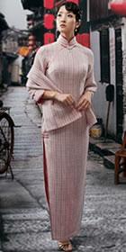 七分袖長身旗袍連圍巾(定做)