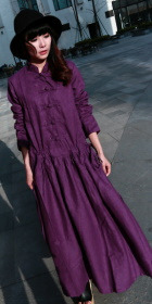 Ethnic Long-sleeve Standing Collar Loose Dress (CM)