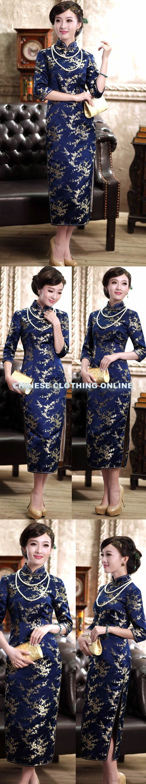 Bargain - 3/4-sleeve Long-length Cheongsam (CM)