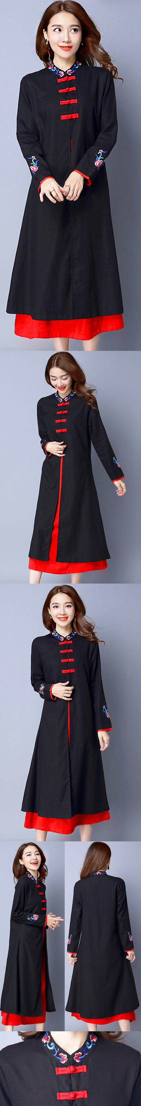 Ethnic Long-length Dual-layer Dress - Black (RM)