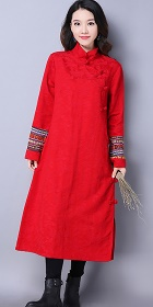 Ethnic Long-length Embroidery-sleeve Dress - Red