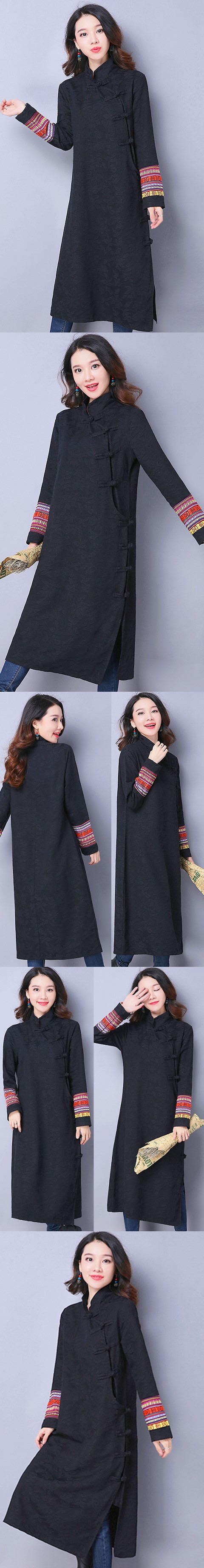 Ethnic Long-length Embroidery-sleeve Dress - Black