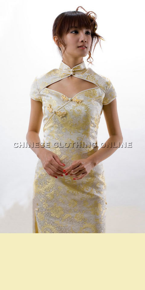 Cup-sleeve Diamond Neckline Long-length Cheongsam (CM)