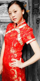 Short-sleeve Neckline Long-length Cheongsam (CM)