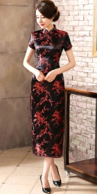 Bargain - Short-sleeve Long-length Brocade Cheongsam (Black/Red)