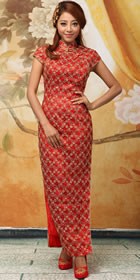 Bargain - Cup-sleeve Long-length Cheongsam (Red)