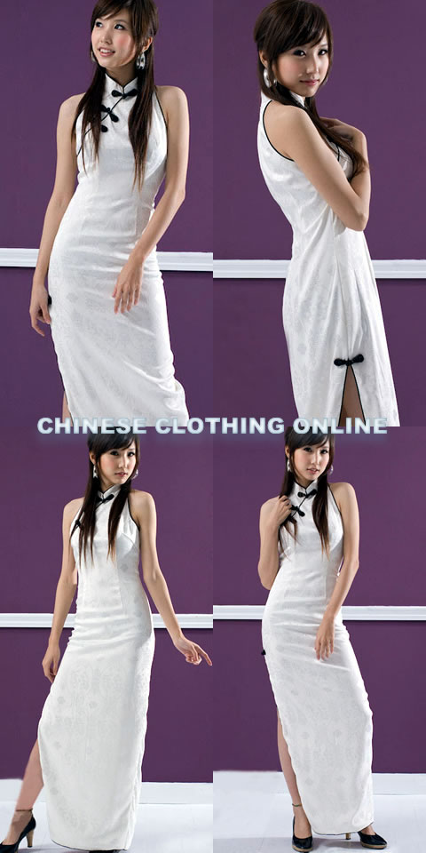 Bargain - Cut-in Shoulders Long-length Cheongsam