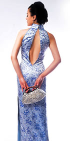 Cut-in Shoulders Slit Back Long-length Cheongsam (CM)