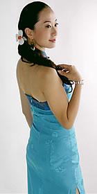 Cut-in Shoulders Bareback Long-length Cheongsam (CM)
