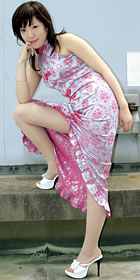 Cut-in Shoulders Front Slit Long-length Cheongsam (CM)