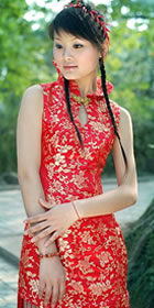 Sleeveless Vase Collar Long-length Cheongsam (CM)