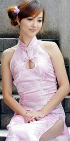 Cut-in Shoulders Water-drop Opening Long-length Cheongsam (CM)