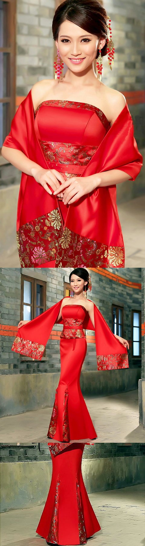 Bare Shoulders Fishtail Cheongsam w/ Scarf (CM)