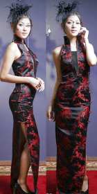 Cut-in shoulders Brocade/Embroidery-Gauze Long-length Cheongsam (CM)