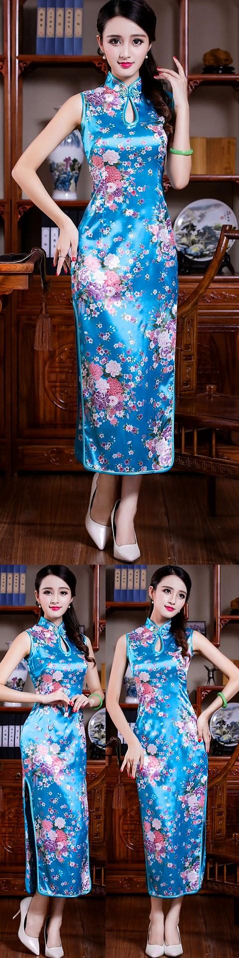 Sleeveless Long-length Floral Cheongsam (RM)