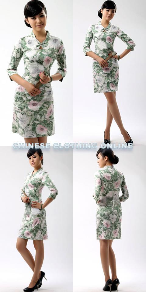 Elbow-sleeve Short-length Cheongsam (CM)