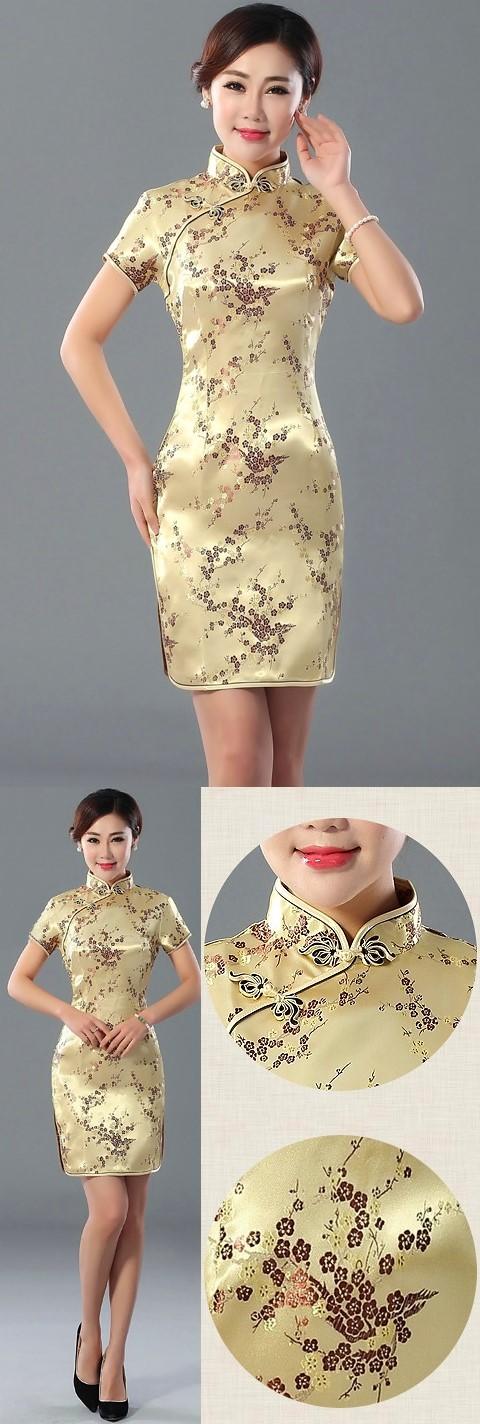 Short-sleeve Short Brocade Cheongsam Dress