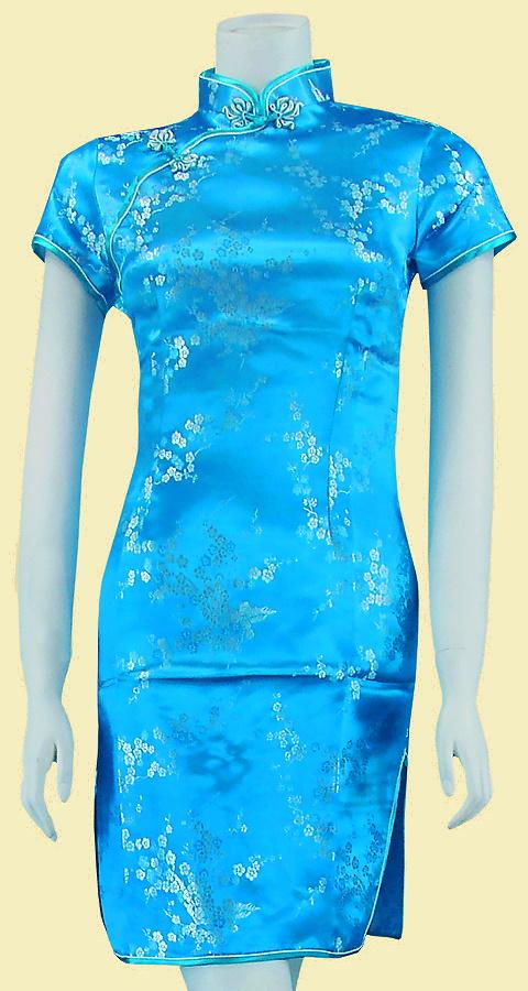 Bargain - Short-sleeve Short Brocade Cheongsam Dress - Sky Blue