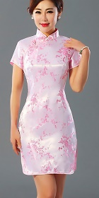 Bargain - Short-sleeve Short Brocade Cheongsam Dress - Pink