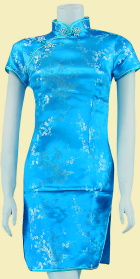 Bargain - Short-sleeve Short Brocade Cheongsam Dress - Sky Blue