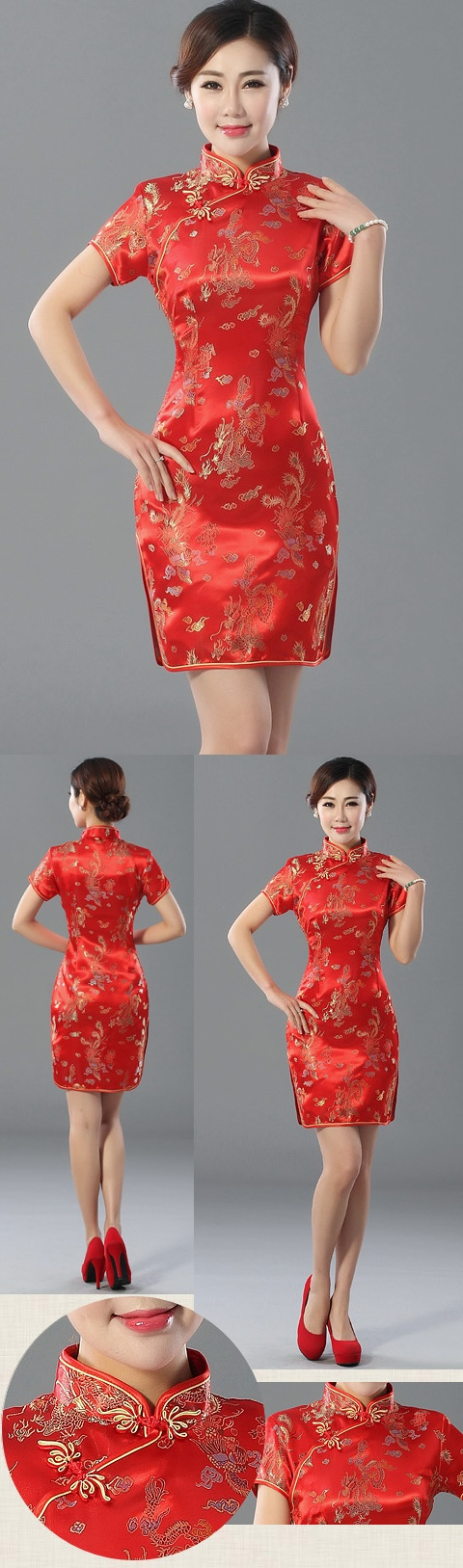 Short-sleeve Short Brocade Cheongsam Dress